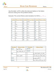 Morse Code Worksheet